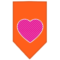 Mirage Pet Products Pink Swiss Dot Heart Screen Print Bandana Orange Large