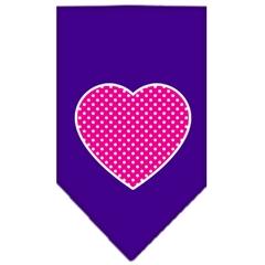 Mirage Pet Products Pink Swiss Dot Heart Screen Print Bandana Purple Large
