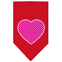 Mirage Pet Products Pink Swiss Dot Heart Screen Print Bandana Red Large