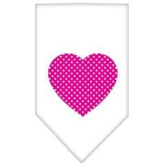 Mirage Pet Products Pink Swiss Dot Heart Screen Print Bandana White Large