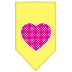 Mirage Pet Products Pink Swiss Dot Heart Screen Print Bandana Yellow Small
