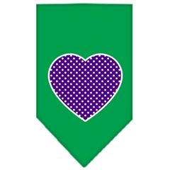 Mirage Pet Products Purple Swiss Dot Heart Screen Print Bandana Emerald Green Large