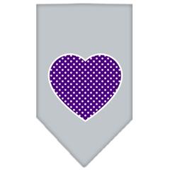 Mirage Pet Products Purple Swiss Dot Heart Screen Print Bandana Grey Large