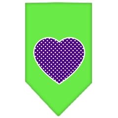 Mirage Pet Products Purple Swiss Dot Heart Screen Print Bandana Lime Green Small