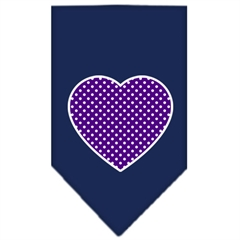 Mirage Pet Products Purple Swiss Dot Heart Screen Print Bandana Navy Blue Small