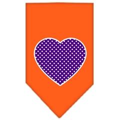 Mirage Pet Products Purple Swiss Dot Heart Screen Print Bandana Orange Large