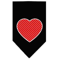 Mirage Pet Products Red Swiss Dot Heart Screen Print Bandana Black Small