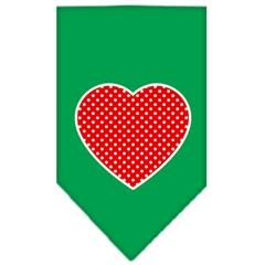 Mirage Pet Products Red Swiss Dot Heart Screen Print Bandana Emerald Green Small