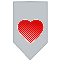 Mirage Pet Products Red Swiss Dot Heart Screen Print Bandana Grey Large