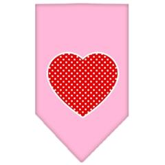 Mirage Pet Products Red Swiss Dot Heart Screen Print Bandana Light Pink Large