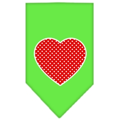 Mirage Pet Products Red Swiss Dot Heart Screen Print Bandana Lime Green Large