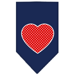 Mirage Pet Products Red Swiss Dot Heart Screen Print Bandana Navy Blue large