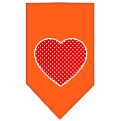 Mirage Pet Products Red Swiss Dot Heart Screen Print Bandana Orange Large