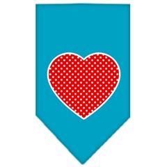 Mirage Pet Products Red Swiss Dot Heart Screen Print Bandana Turquoise Small