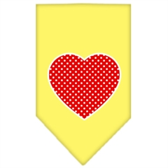 Mirage Pet Products Red Swiss Dot Heart Screen Print Bandana Yellow Small
