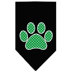 Mirage Pet Products Green Swiss Dot Paw Screen Print Bandana Black Large