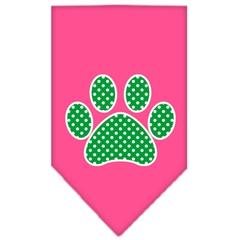 Mirage Pet Products Green Swiss Dot Paw Screen Print Bandana Bright Pink Large