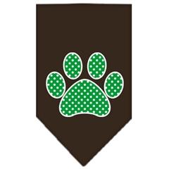 Mirage Pet Products Green Swiss Dot Paw Screen Print Bandana Cocoa Large