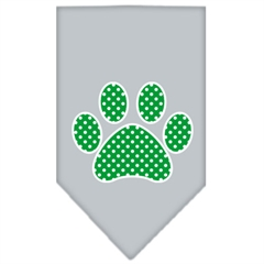 Mirage Pet Products Green Swiss Dot Paw Screen Print Bandana Grey Large