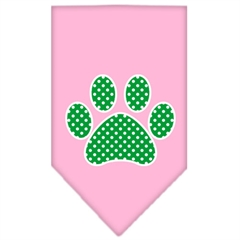 Mirage Pet Products Green Swiss Dot Paw Screen Print Bandana Light Pink Small