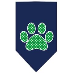 Mirage Pet Products Green Swiss Dot Paw Screen Print Bandana Navy Blue large