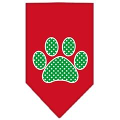 Mirage Pet Products Green Swiss Dot Paw Screen Print Bandana Red Large