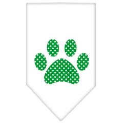 Mirage Pet Products Green Swiss Dot Paw Screen Print Bandana White Large