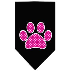 Mirage Pet Products Pink Swiss Dot Paw Screen Print Bandana Black Large