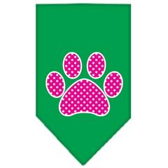 Mirage Pet Products Pink Swiss Dot Paw Screen Print Bandana Emerald Green Large