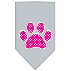 Mirage Pet Products Pink Swiss Dot Paw Screen Print Bandana Grey Small
