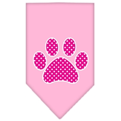 Mirage Pet Products Pink Swiss Dot Paw Screen Print Bandana Light Pink Small