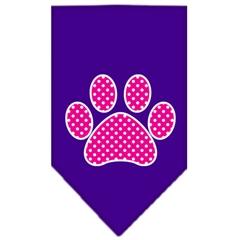 Mirage Pet Products Pink Swiss Dot Paw Screen Print Bandana Purple Small
