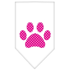 Mirage Pet Products Pink Swiss Dot Paw Screen Print Bandana White Large