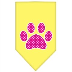 Mirage Pet Products Pink Swiss Dot Paw Screen Print Bandana Yellow Small