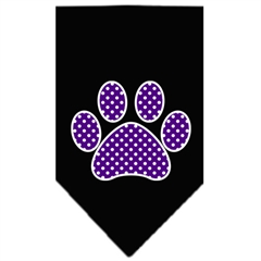 Mirage Pet Products Purple Swiss Dot Paw Screen Print Bandana Black Large