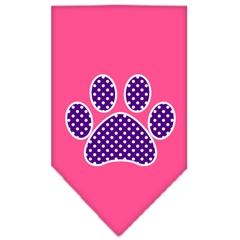 Mirage Pet Products Purple Swiss Dot Paw Screen Print Bandana Bright Pink Small