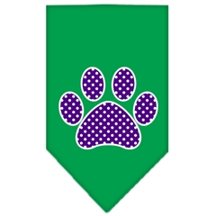 Mirage Pet Products Purple Swiss Dot Paw Screen Print Bandana Emerald Green Small