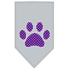 Mirage Pet Products Purple Swiss Dot Paw Screen Print Bandana Grey Small