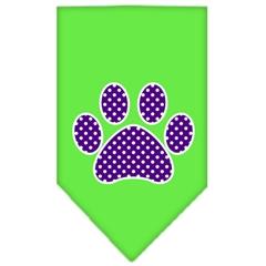 Mirage Pet Products Purple Swiss Dot Paw Screen Print Bandana Lime Green Large