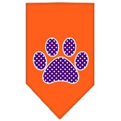 Mirage Pet Products Purple Swiss Dot Paw Screen Print Bandana Orange Small