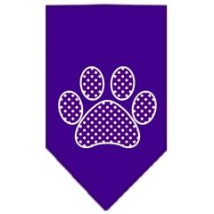 Mirage Pet Products Purple Swiss Dot Paw Screen Print Bandana Purple Small