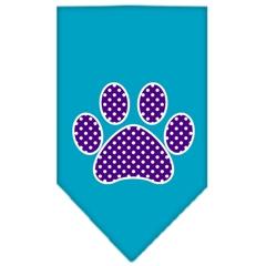 Mirage Pet Products Purple Swiss Dot Paw Screen Print Bandana Turquoise Small