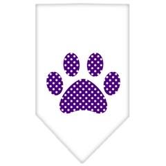 Mirage Pet Products Purple Swiss Dot Paw Screen Print Bandana White Small