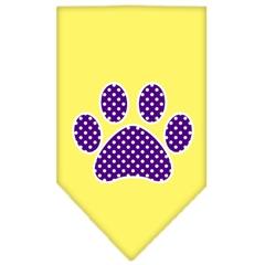 Mirage Pet Products Purple Swiss Dot Paw Screen Print Bandana Yellow Large