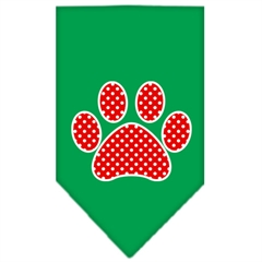 Mirage Pet Products Red Swiss Dot Paw Screen Print Bandana Emerald Green Large
