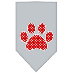 Mirage Pet Products Red Swiss Dot Paw Screen Print Bandana Grey Small