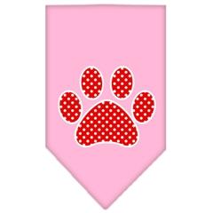 Mirage Pet Products Red Swiss Dot Paw Screen Print Bandana Light Pink Large