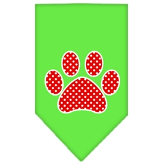Mirage Pet Products Red Swiss Dot Paw Screen Print Bandana Lime Green Large