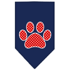 Mirage Pet Products Red Swiss Dot Paw Screen Print Bandana Navy Blue large