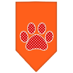 Mirage Pet Products Red Swiss Dot Paw Screen Print Bandana Orange Large
